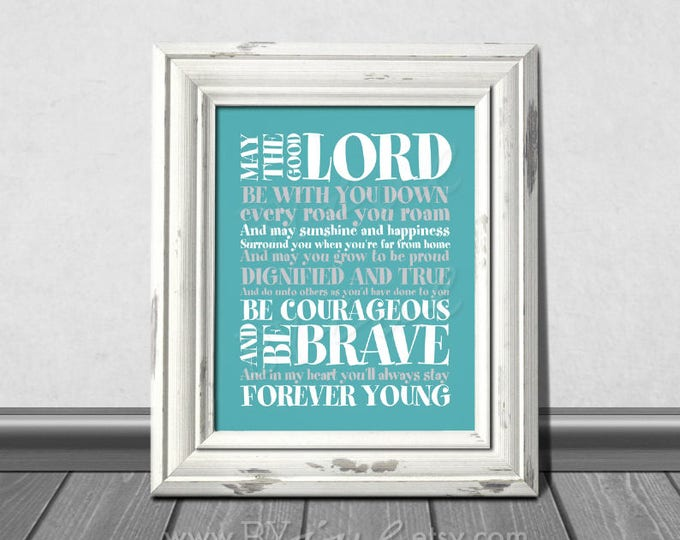 Forever Young Lyrics, Rod Stewart song, teal themed, Nursery teal color, Download Immediately
