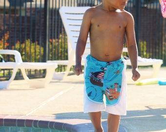 Swim Shorts - Pirate Swimsuit - Boys Swim Shorts - Boys Swimwear - Toddler Swimsuit - Pirate Birthday Party - Boy Swim Trunks - Bathing Suit