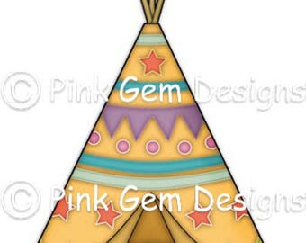 Digi Stamp Tee Pee. Wigwam Makes Cute Papercraft and Digital Scrapbooking Projects. Tribal. Woodland Animals. American Indian