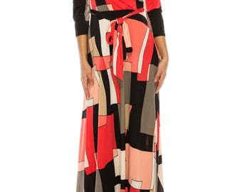 STELLA Wrap Style Dress in 60's Geometric Print