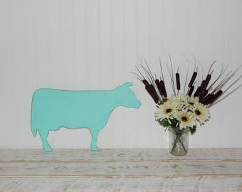 Wooden Cow Sign Rustic Country Decor Farmhouse Chic  Cow Silhouette Cow Wall Art