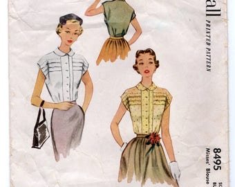 """1950's McCall Blouse Pattern with Two Sleeve Lengths - Bust 36"""" - No. 8495"""
