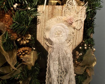 christmas ornament shabby chic ornament rustic decoration bridal pillow wood andlace ornament