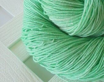 MINT JULEP Sparkly Sock Yarn, Sock Yarn Knitting, Superwash Merino Yarn, Knitting Yarn, Indie-Dyed Yarn, Handdyed Yarn, Mint Green Merino