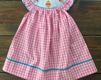 Pink Gingham Smocked Ice Cream Bishop Dress