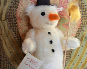 "Large Steiff Snowman Teddy Bear USA LTD Edition All Ids Mint Cond. Christmas Toy Collectible  Decor  Handmade 14"" T"