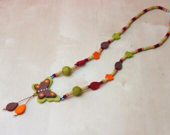 Necklace, Butterfly Necklace, Felt Necklace, Felt Butterfly Necklace, Boho Necklace, Felt Jewelry, Wool Necklace, Felt Ball Necklace