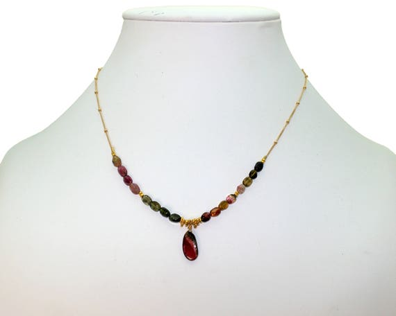 Watermelon Tourmaline Slice Necklace. Adjustable Length. Unique Multi Tourmaline necklace. Gold filled Chain and Clasp.