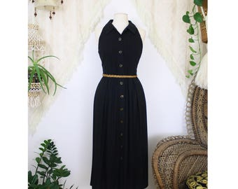 Classic Black linen-blend Vintage dress, Jessica Howard sleeveless LBD, Medium 4304