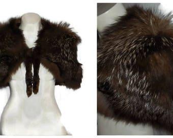 Vintage Fox Fur Cape Stole Wrap 30s 40s Silver Fox Fluffy Fur Art Deco Stole Silvery Grey Glamour Shoulder Cape