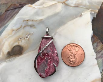 Thulite Silver Wrapped Pendant
