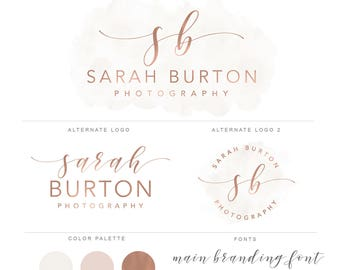 Rose Gold Branding package, Gold Photography Logo and Watermark Branding Package, Handwritten Initials  Premade Marketing Set bp88