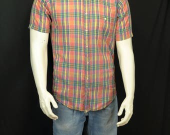 Men vintage shirt Short sleeve button down collar casual shirt Summer hipster clothing Cotton fitted plaid shirts 80s button up shirt S M