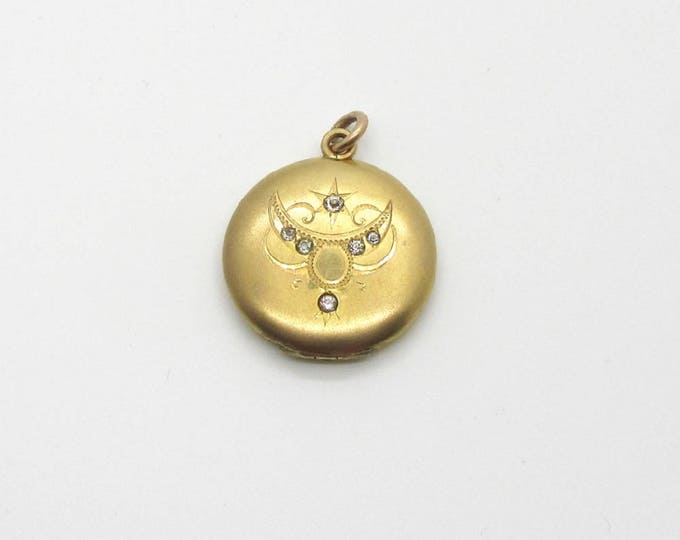 Vintage Gold Filled Locket with Rhinestones, Vintage Locket, Round Locket, Vintage Round Locket with Rhinestones, Picture Keepsake