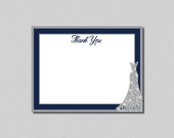 Navy Silver Bridal Shower Thank You Cards Nora BR03 Digital or Printed