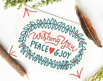 Holiday Card, Holiday Card Set, Vintage Inspired Card, Vintage Card, Vintage Holiday cards, Wishing You Peace Love & Joy Card Pack