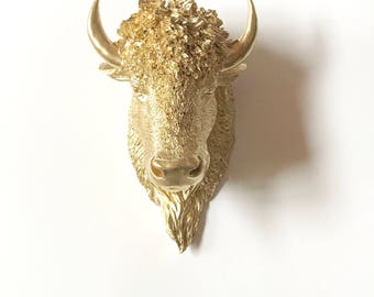 GOLD LARGE Faux Taxidermy Bison Head wall mount / faux animal head faux taxidermie Plains animal mounted Faux Buffalo Farm House wall decor