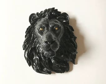 GLOSS BLACK with GoLd EyEs Large Faux Taxidermy Lion Head wall mount Safari wall art safari animal head wall decor Faux animal head