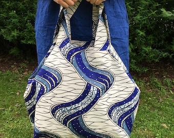 African Waxed Print Ankara Large Tote Bag