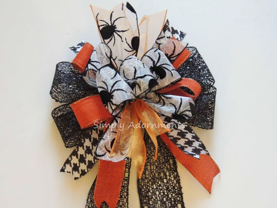 Spooky Spider Bow Black Orange Halloween Wreath Bow Halloween Black Spiker Bow Funky Halloween Door Hanger Bow Halloween Lantern Swag Bow