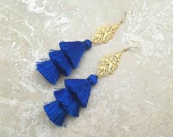 "Sahara Tassel Chandelier Earrings, Gold Filigree Chandelier Earrings, Blue Layered Tassel Earrings,5"" Drop, Bridal Earrings, Brithday Gift"
