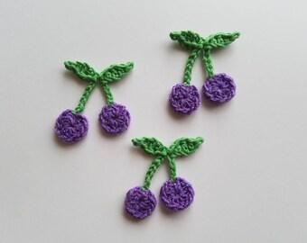 "NEW- 1pc 2.5"" Crochet PURPLE BERRYApplique"