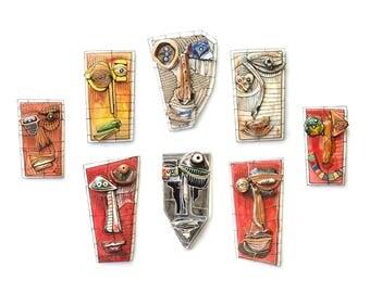 Ceramic mask, Set of 8, Modern ceramic, Ceramic wall art, Wall sculpture, 3D sculpture, Ceramic art, Contemporary art