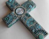 Turquoise Mosaic Cross, Love, Housewarming Gift, Birthday Gift, First Communion, Christening, Baptism, Engagement Gift, Gift for Mrs.