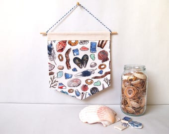beachcombing handmade patterned wall hanging | fabric banners, home decor