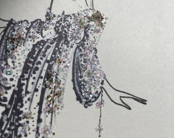 small fashion illustration - glitter - glam - sparkle - disco - fashion sketch - drawing - art