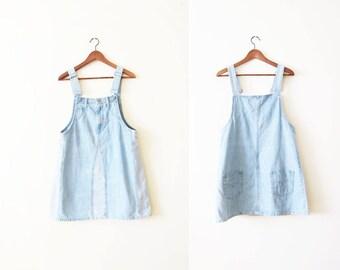 Overall Dress / 90s Denim Overalls Dress / Denim Dress / Grunge Dress / Jean Dress / Pinafore Dress
