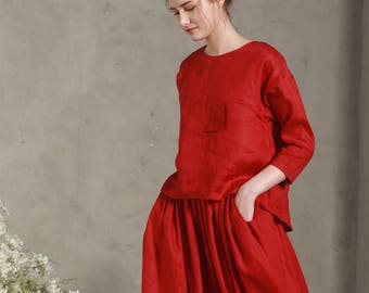 red linen shirt, red linen tunic, cropped linen blouse, loose fitting linen, plus size tops, scew neck shirt, oversized tshirt, designer