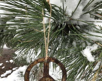 """Single or Set of 3...Rusty Metal PEACE SIGN Ornament(s)- Rustic - 4"""" tall"""