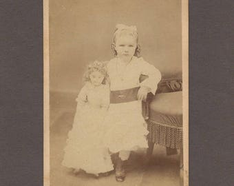 CDV of a Little Girl and Her Huge Doll