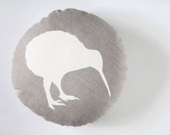 Circle bird pillow, white print on linen pillow sham, couch pillows, throw pillow covers, pillowcase, sofa pillows, pillow covers