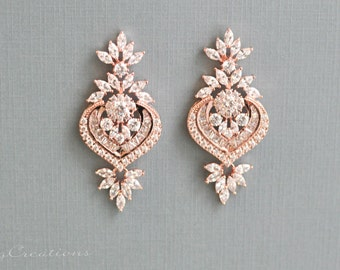 Wedding Earrings Rose Gold plated Zirconia Earrings Platinum plated Zirconia Earrings Wedding Jewelry Bridal Earring Bridal Jewelry AGGIE