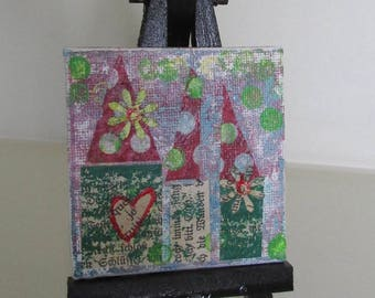 miniature mini canvas panel mixed media houses gelli prints wall display upcycled art