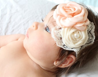 Flower Girl Headband, Blush Flower baby headband,Newborn headband, Newborn Photo Props,Baby Headband