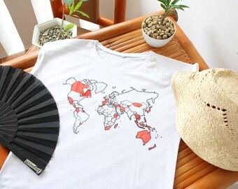 worldmap shirt white summer travel world globetrotter wanderlust