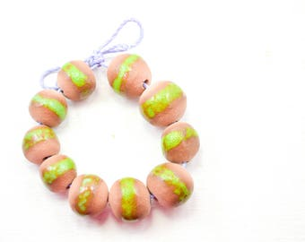 10 Handcrafted Ceramic Beads - Green - Unique Assortment - Earthy - Striped- Handmade - Round- Pottery beads - Brownstone - Bead Set  Y488