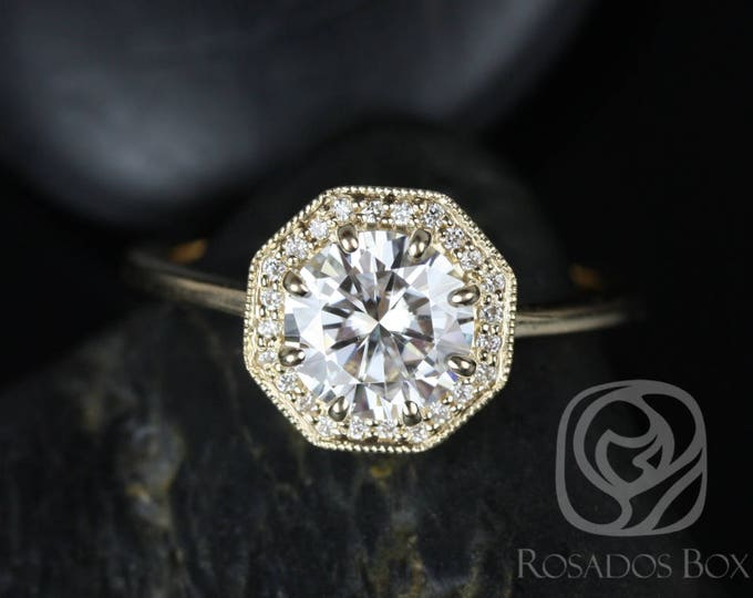 Featured listing image: Rosados Box Winona 7mm 14kt Yellow Gold Round F1- Moissanite and Diamonds Octagon Halo WITH Milgrain Engagement Ring