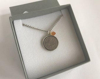 Sixpence Pendant, Sixpence Wedding, Vintage Coin Jewelry, Anniversary Necklace, Birthstone Necklace, Coin Pendant Necklace Silver