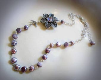 freshwater pearl necklace purple pearly necklace long beaded chain necklace silver flower necklace purple flower necklace nature jewelry