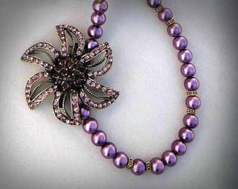 purple pearly necklace flower necklace asymmetrical pearl necklace glass pearl necklace pearl beads necklace bold statement necklace
