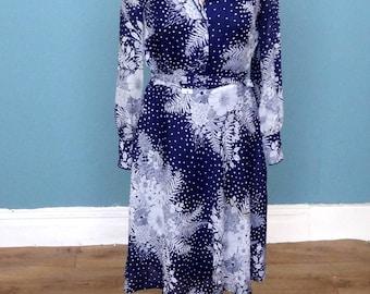 Vintage 70's / 80's Floral Print Midi Dress UK Size 14