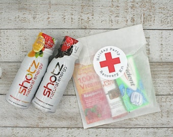 Recovery Kit packaging for Holiday Party, New Years Eve, Office Party favor, red cross stickers, funny party favor.  Holiday party favors.