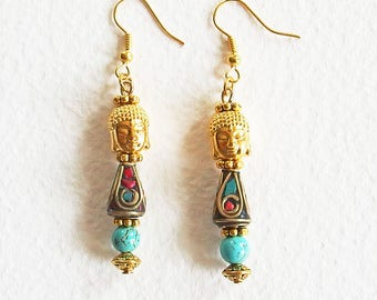 Earrings Zen - Mind Buddha - handcrafted Cloisonne beads, gold tone Turquoise gem stone - jewelry designer OOAK