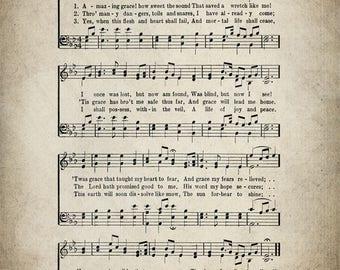 Amazing Grace Hymn Lyrics - Sheet Music Art - Hymn Art - Hymnal Sheet - Home Decor - Music Sheet - Print - #HYMN-P-017