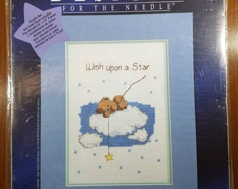 UNOPENED Wish Upon A Star Teddy Bear on Cloud Cross Stitch Kit with Mat