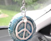 Teal Turquoise Peace Sign Ceramic Aromatherapy Rear View Mirror Essential Oil Diffuser Clay Car Accessory Air Freshener